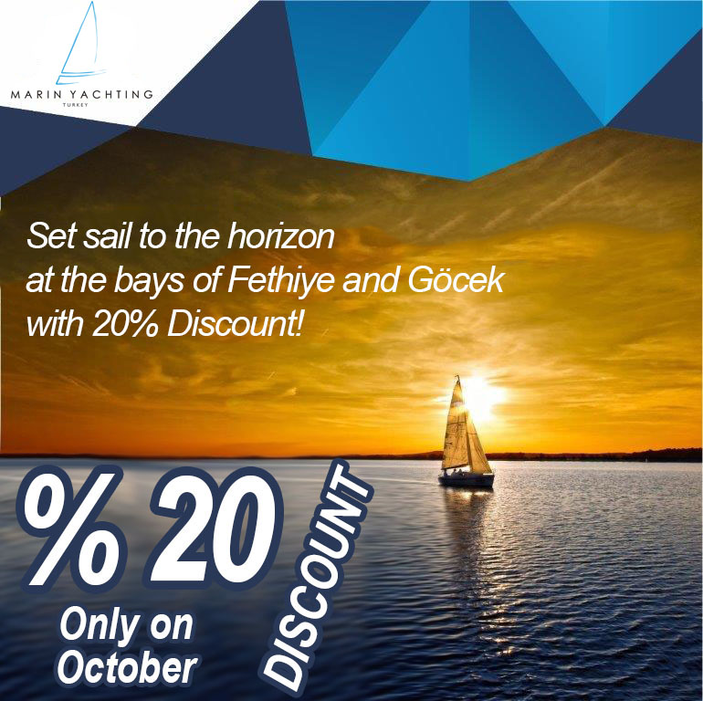 20 percent discount on yacht charter for october